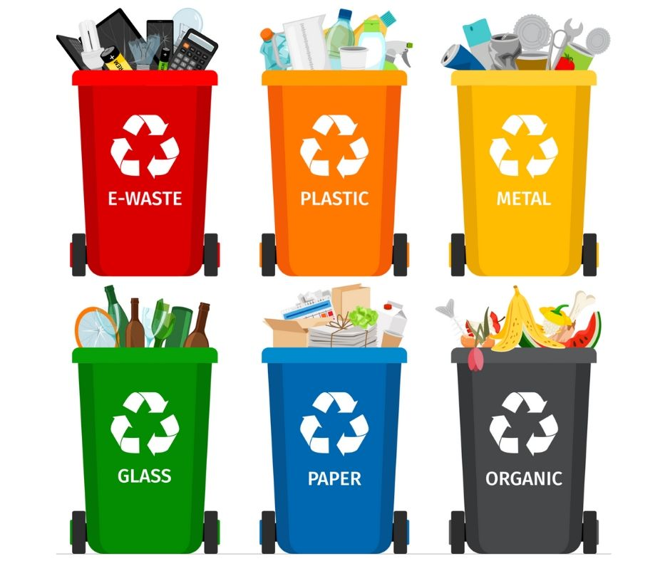 Trash in garbage cans with sorted garbage vector icons.