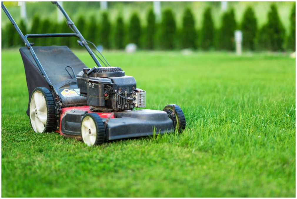 Lawn mower on a well manicured lawn as background