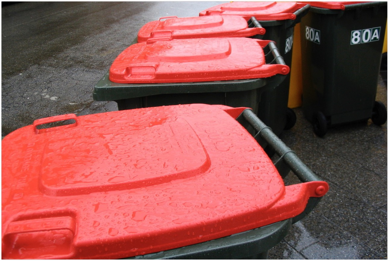 wet red rubbish bin