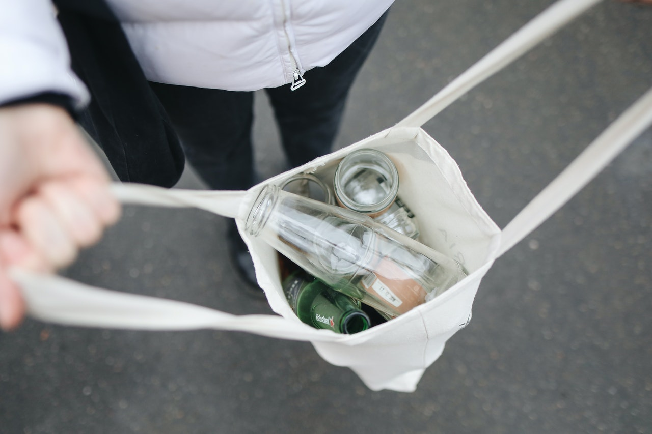 used bottles in a bag for recycling