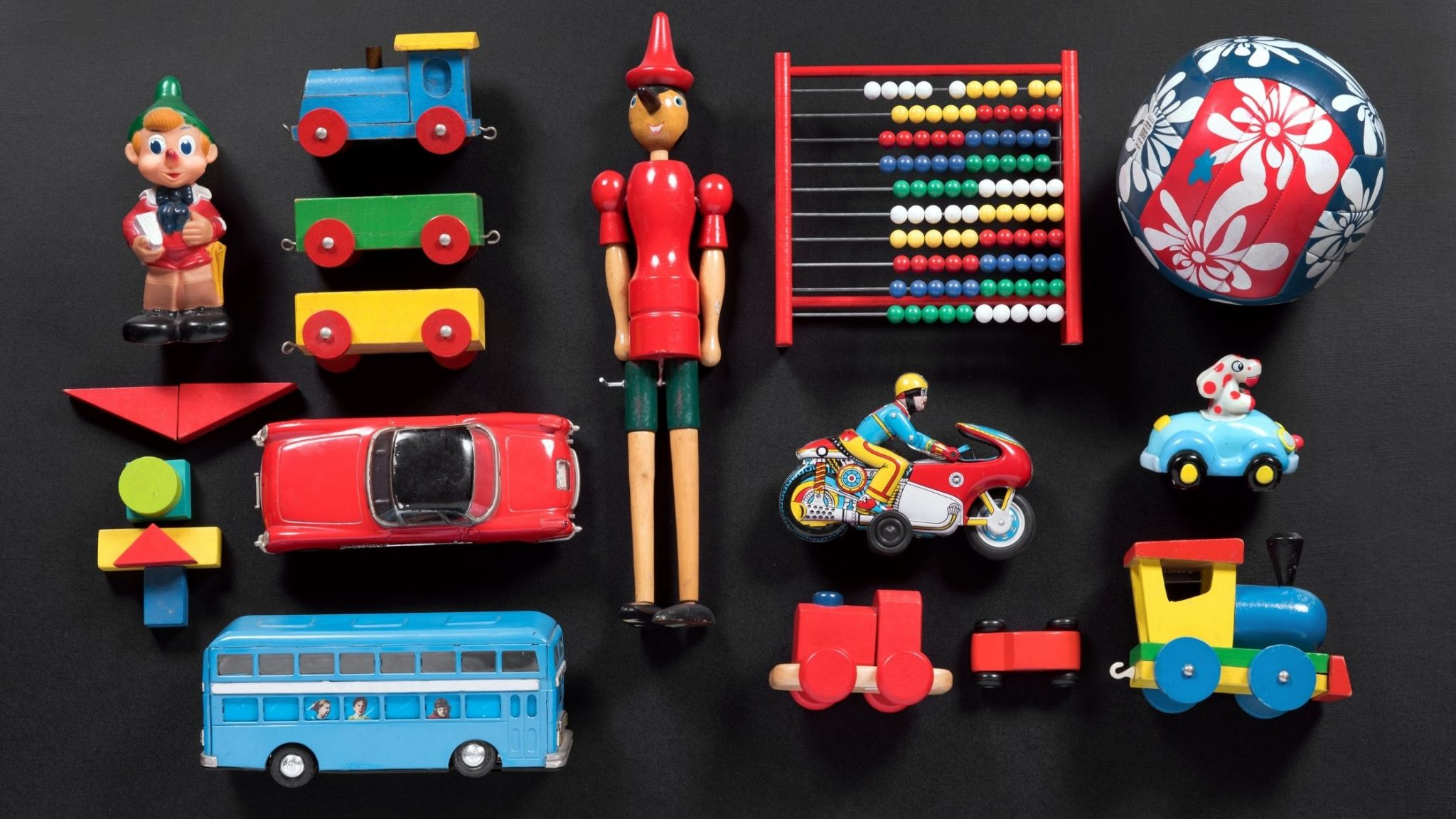 Colorful collection of cute vintage toys