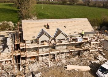 aerial photo of 3 story house